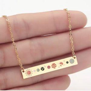 BOGO Solar System Bar Necklace Gold Celestial Boho